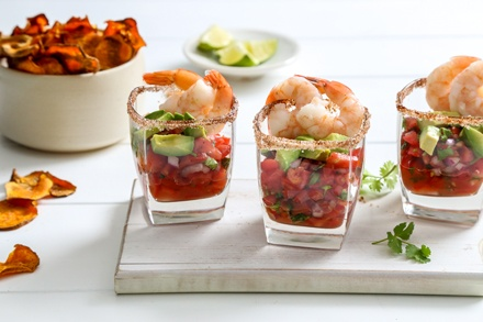 Simply Organic Holiday Organic Mexican Shrimp Cocktail with Baked Sweet Potato Chips Recipe