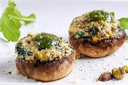 Organic Pistachio and Pesto Stuffed Mushrooms