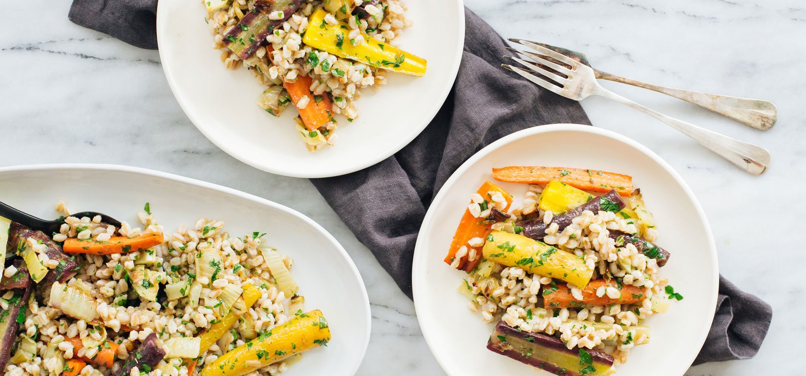 Organic Farro Salad with Thyme-Roasted Carrots and Maple-Ginger Dressing