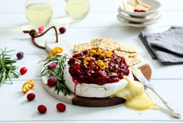 Organic Baked Brie with Cardamom Cranberry Orange Relish