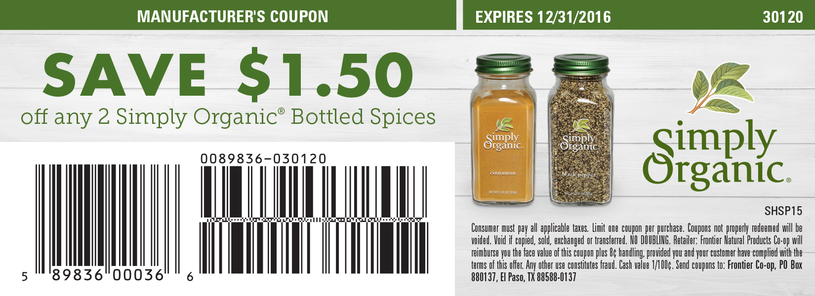 Save $1.50 off any 2 Simply Organic<sup>&reg;</sup> Bottled Spices