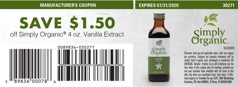 Save $1.50 off Simply Organic<sup>&reg;</sup> 4 oz. Vanilla Extract