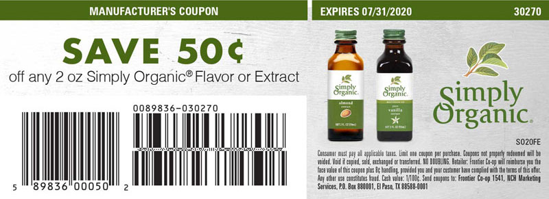 Save 50¢ off any 2 oz. Simply Organic Flavor or Extract