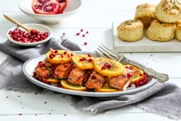 Organic Ginger Orange Salmon with Pomegranate Seeds