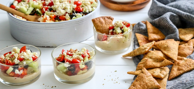 Simply Organic Holiday Organic 7 Layer Mediterranean Dip with Pita Chips Recipe
