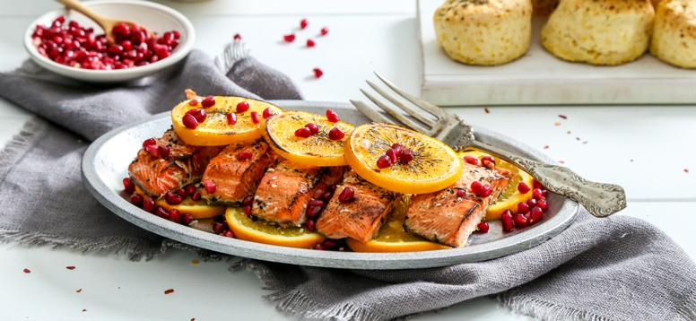 Simply Organic Holiday Organic Ginger Orange Salmon with Pomegranate Seeds Recipe