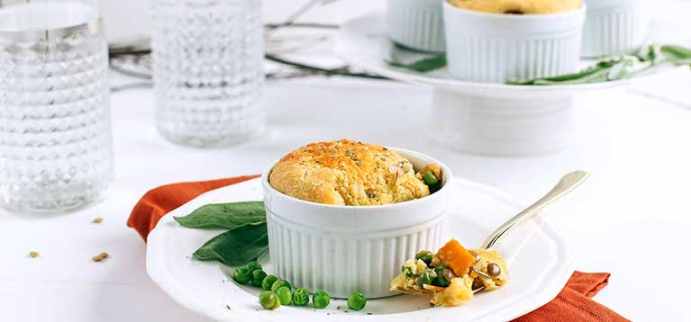 Simply Organic Holiday Organic Mini Vegetable Pot Pie with Sage Cornbread Recipe