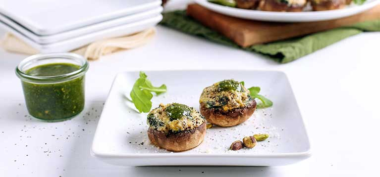 Simply Organic Holiday Organic Pistachio and Pesto Stuffed Mushrooms Recipe