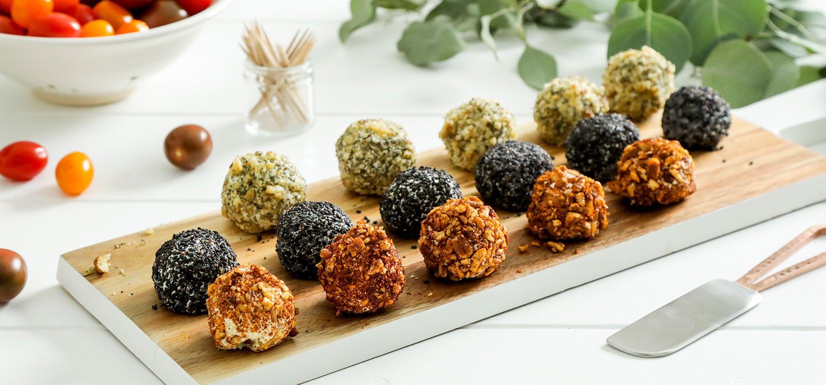 Organic Mini Cheese Balls with Cherry Tomatoes Recipe