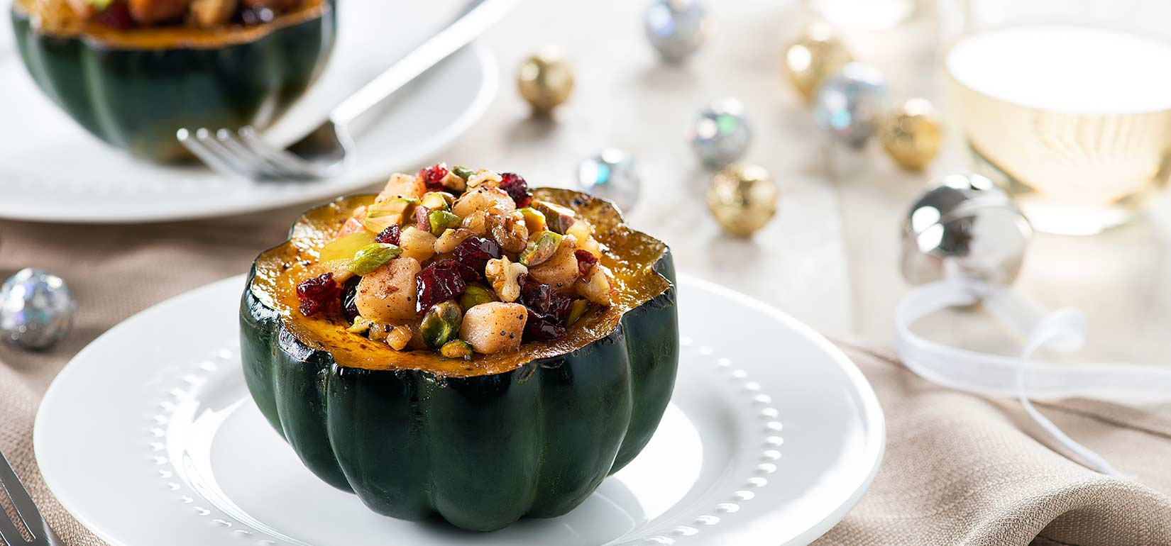 Simply Organic Holiday Organic Allspice Acorn Squash with Fruit and Nuts Recipe