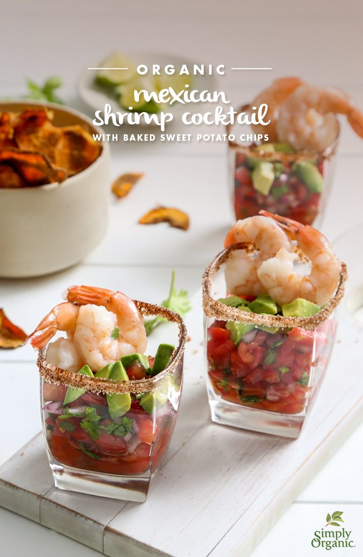 Organic Mexican Shrimp Cocktail With Baked Sweet Potato Chips Recipe Simply Organic