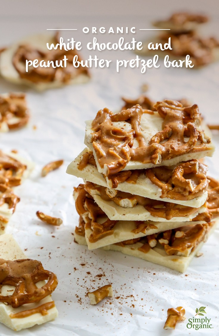 Organic White Chocolate and Peanut Butter Pretzel Bark Recipe ...