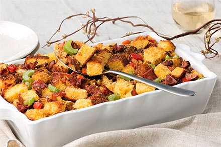 Simply Organic Holiday Organic Peppery Bacon Cornbread Stuffing Recipe